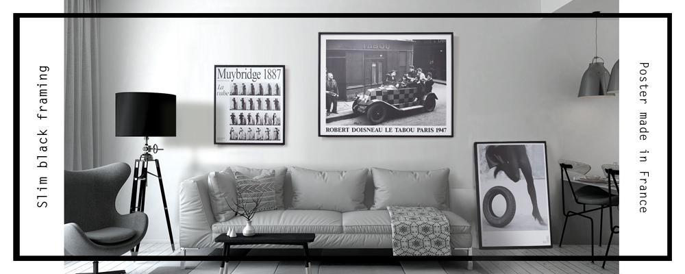 スリムブラックフレームフランス製ポスター額装